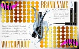 3d realistic eyeliner pen vector in black case with water splash. Gold pink flyer. Elegant Liquid lipliner with brush. Mock up template for ads or magazine Stock Photo
