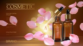 3d realistic flower natural organic cosmetic ad. Rose pink petal brown glass serum essence face oil droplet care. Bottle. Pipette golden promotional poster royalty free illustration
