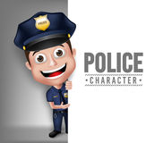 3D Realistic Friendly Police Man Character Policeman Stock Images