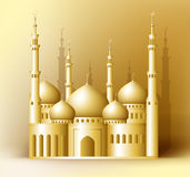 3d Realistic Golden Detailed Mosque or Masjid. Reflected for Islam and Ramadan Celebrations Background. Editable Vector Illustration Stock Images