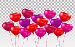 3d realistic heart ballons set. Bunch of glossy red, pink, purple heart balloons on transparent background. Holiday vector illustration
