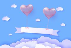 3d Realistic helium heart pink Balloon. Holiday illustration of flying glossy balloon with ribbon. Space for text and paper cut sky. Greeting card  template Stock Image