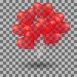 3d Realistic helium heart red Balloon. Holiday illustration of bunch of flying glossy balloon. Isolated. On transparent Background. Vector Illustration Eps10 Stock Photos