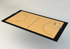 3d Realistic Illustration of Basketball Court - Perspective View Royalty Free Stock Photos