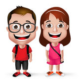 3D Realistic Kids School Boy and Girl Student Wearing. Casual with Backpack and Eyeglass  in White Background. Vector Illustration Stock Image