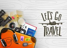 3D Realistic Let`s Go Travel Around The World Creative Banner with Travelling Item. Such as Binoculars, Map, Compass, Magnifying Glass, Sunglasses, Car Key royalty free illustration