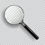 3D Realistic Magnifying Glass. Transparent loupe on plaid black white background. Element for advertising and promotional message. Isolated vector illustration royalty free illustration