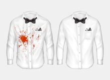 Realistic shirts before and after washing. 3d realistic male white shirts with bow-ties, one dirty, crumpled with red stain of wine, blood or ketchup, other stock illustration