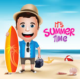 3D Realistic Man Character Wearing Summer Outfit Holding Surfing Board Royalty Free Stock Images
