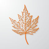 3d realistic maple leaf. Vector version. 3d realistic maple leaf with shadow on white background. Vector illustration Stock Photo