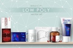 3d realistic medicine drug mock up set. Glass bottle capsule remedy pills healthcare cure disease. Low poly human organ Stock Images