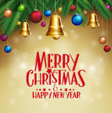 3D Realistic Merry Christmas Bells Hanging Stock Photo