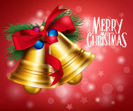 3D Realistic Merry Christmas Bells Hanging Royalty Free Stock Images
