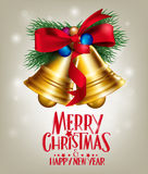 3D Realistic Merry Christmas Bells Hanging with Red Stock Photo