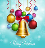 3D Realistic  Merry Christmas Greetings with Hanging Stock Photography