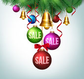 3D Realistic  Merry Christmas Greetings with Hanging Royalty Free Stock Images