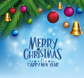 3D Realistic Merry Christmas Greetings Royalty Free Stock Images