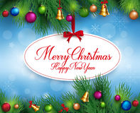 3D Realistic Merry Christmas Greetings Hanging Royalty Free Stock Photography