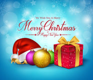 3D Realistic Merry Christmas Greetings with Red Gift Stock Photo