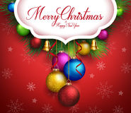 3D Realistic Merry Christmas Greetings Text Stock Photography