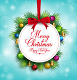 3D Realistic Merry Christmas Greetings Title Hanging Royalty Free Stock Image