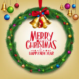 3D Realistic Merry Christmas Wreath Hanging with Colorful Bells Stock Photo