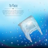 3D realistic plastic bag that pollutes the ocean. Bubbles in the water with the waste. 3D realistic plastic bag in the ocean. Bubbles in the water with the vector illustration