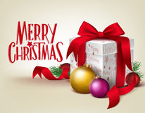 3D Realistic Red Gift with Merry Christmas Greeting Stock Photography