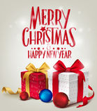 3D Realistic Red Gifts with Merry Christmas Greeting for Card Stock Image