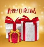 3D Realistic Red Gifts with Merry Christmas Greeting Royalty Free Stock Photos