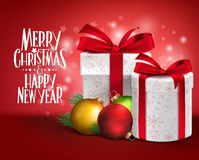 3D Realistic Red Gifts with Merry Christmas Greeting stock illustration