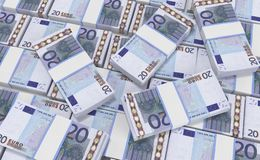 20 Euro Money. euro cash background. Euro Money Banknotes. 3D realistic render of 20 Euro Money. euro cash background. Euro Money Banknotes royalty free illustration