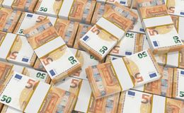 50 Euro Money. euro cash background. Euro Money Banknotes. 3D realistic render of 50 Euro Money. euro cash background. Euro Money Banknotes royalty free illustration