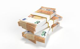50 Euro money lots forming a pile isolated on white background. 3D realistic render of 50 Euro money lots forming a pile isolated on white background stock illustration