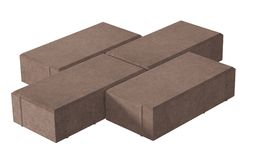 Three brown lock paving bricks. Isolated on white background. 3D realistic render of three brown lock paving bricks. Isolated on white background royalty free illustration