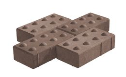 Three brown lock paving bricks. Isolated on white background. 3D realistic render of three brown lock paving bricks. Isolated on white background vector illustration