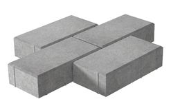Render of three grey lock paving bricks. Isolated on white background. 3D realistic render of three grey lock paving bricks. Isolated on white background vector illustration
