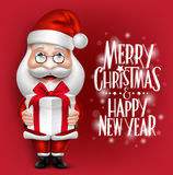 3D Realistic Santa Claus Cartoon Character Holding Christmas Gift Royalty Free Stock Image