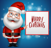 3D Realistic Santa Claus Cartoon Character Showing Merry Christmas Stock Photo