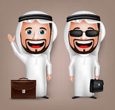 3D Realistic Saudi Arab Man Cartoon Character with Different Pose Holding Briefcase. Wearing Thobe  in White Background. Set of Vector Illustration Royalty Free Stock Photo