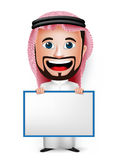 3D Realistic Saudi Arab Man Cartoon Character Holding Blank White Board. Wearing Thobe  in White Background. Vector Illustration Stock Images