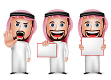 3D Realistic Saudi Arab Man Cartoon Character  Holding Blank White Board. Wearing Thobe Isolated in White Background. Set of Vector Illustration Stock Photography