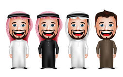 3D Realistic Saudi Arab Man Cartoon Character Wearing Different Traditional Thobe Stock Photo
