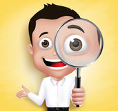 3D Realistic School Boy or Professor Holding Magnifying Glass. Looking for Discovery in Yellow Background. Vector Illustration Royalty Free Stock Photo