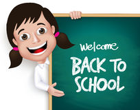 3D Realistic School Girl Student Happy Smiling Holding. A Blackboard With Back to School Text Written  in White Background. Vector Illustration Stock Photography