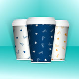3D Realistic set of paper coffee or tea cups. Mock up. Vector Template. Take away utensil, tableware. Hot drinks cups. White paper Stock Photos