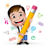 3D Realistic Smart Kid School Boy Writing Creative Ideas. 3D Realistic Smart Kid School Boy Wearing Uniform and Backpack Writing Creative Ideas with Big Pencil Stock Photo
