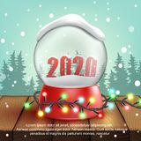 3d realistic Snow Ball with text 2020. Vector. Illustration stock illustration