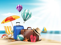 3D Realistic Summer Travel and Vacation Poster Design Stock Images