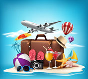 3D Realistic Summer Vacation Design for Travel in a Sand Beach. Island in Horizon with Summer Items. Vector Illustration stock illustration